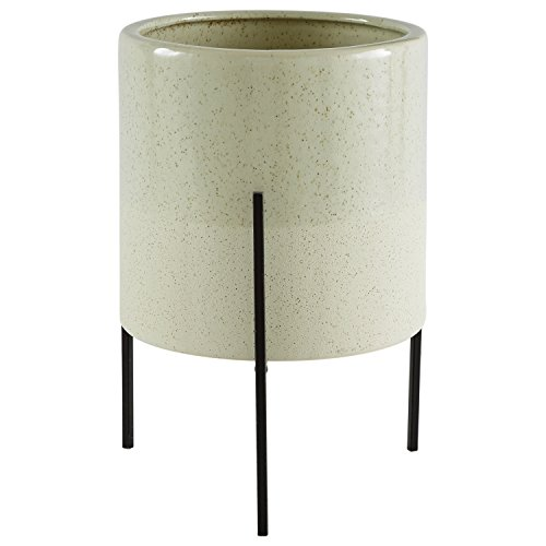 Rivet Mid-Century Ceramic Planter Iron Stand 14