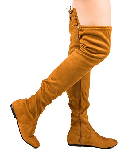RF ROOM OF FASHION Women's Faux Suede Fitted Flat To Low Heel Over The Knee High Boots Camel - Knee Boots Brown Suede