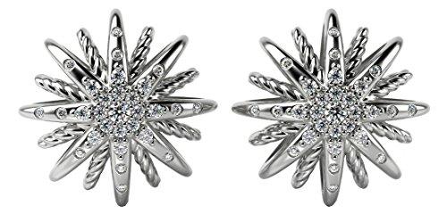 Designer Inspired 14K White Gold Plated Starburst Twisted Cable Stud Earrings