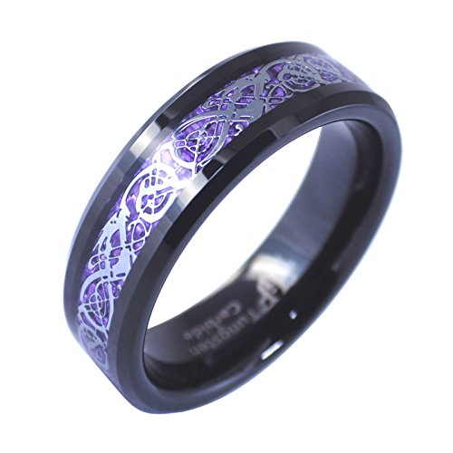 Celtic Knot Dragon Ring Purple Carbon Fiber 6mm Black Tungsten Band Size 10