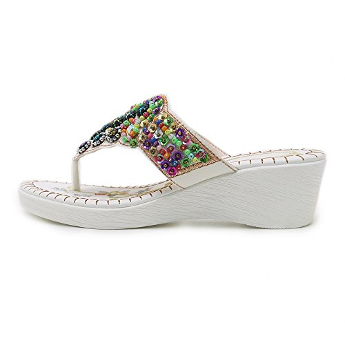 White 34 on Women Coolcept Heel Slip Sandals Wedge SBOqawO