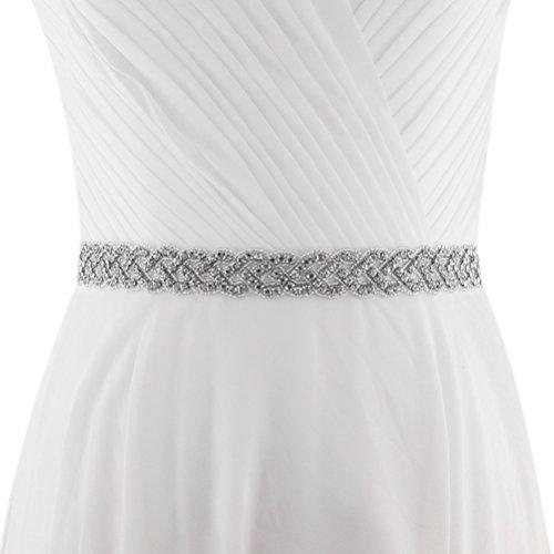 (Lovful Womens Crystal Rhinestone Beaded Satin Bridal Sash Chic Wedding Party Belt With Ribbon, White )