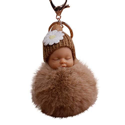 Baby Plush Keychain - Fur Fluffy Key Chains, Cute Sleeping Baby Doll Keyrings, Fur Plush Pom Pom Bags Charm Pendant (Khaki)