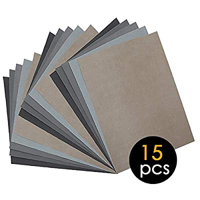 15Pcs Wet Dry Sandpaper, 1000/2000/3000/5000/7000 Assorted High Grit Polishing Sandpaper Sheets for Automotive Wood Metal Sanding by BAISDY
