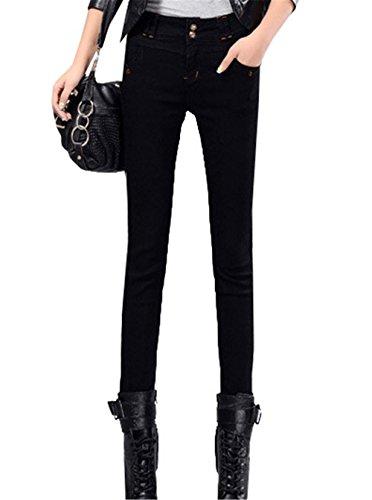DaBag Donna Jeans Pantaloni Vita Alta Pantalone tapered Pants Stretch Attillati Autunno Primavera Push up Nero