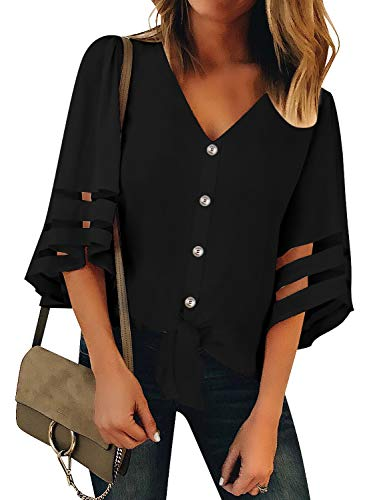 (Luyeess Women's Casual V Neck Loose Mesh Panel Chiffon Button Up Front Tie Knot 3/4 Bell Sleeve Blouse Top Shirt Tee Solid Black, Size M(US 8-10))