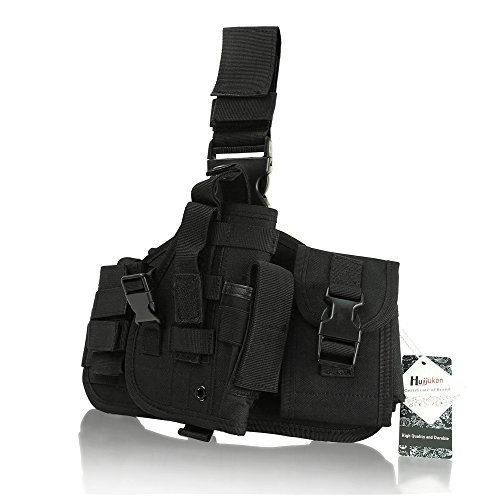 Huijukon Tactical Military Utility Gear Multi Purpose Drop Leg MOLLE Pouch Platform Rig With Included Three Detachable Pouches (Black) - Molle Drop Leg Holster Panel