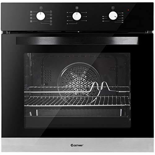 Costway 24″ Built-In Single Wall Oven Electric 2.3 Cu. Ft. Capacity Tempered Glass Multi-Function European Convection Oven with Push Buttons Control (9-Functions)