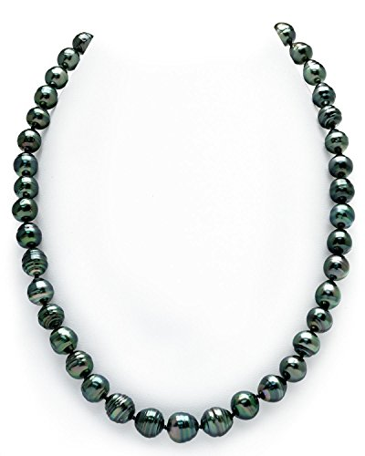 14K Gold 8-10mm Dark Tahitian South Sea Baroque Cultured Pearl Necklace - AAA Quality, 18