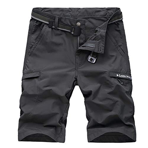 (Cargo Shorts Men's Big-Tall Belted Cargo Short Men's Utility Hiker Short Summer Pants)