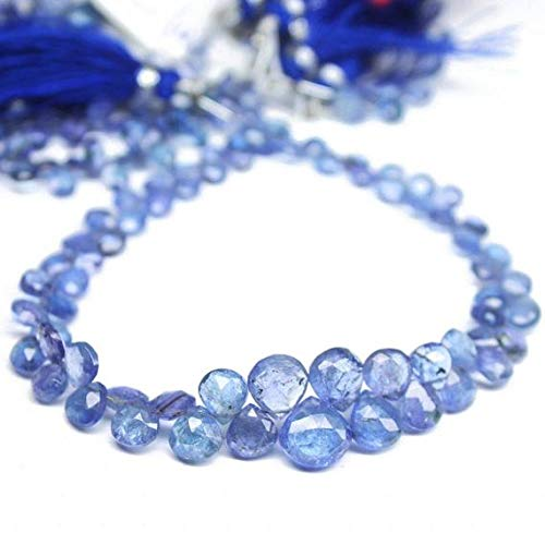 GemAbyss Beads Gemstone Natural Tanzanite Faceted Heart Drop Briolette Gemstone Loose Craft Beads Strand 8 Inch Long 7mm 5mm -