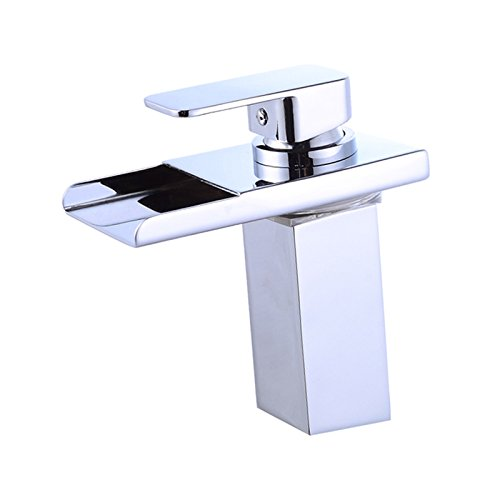 Wovier Chrome LED Water Flow Color Changing Waterfall Bathroom Sink Faucet,Single Handle Single Hole Vessel Lavatory Faucet,Basin Mixer ()