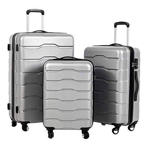 Murtisol 3 Pieces ABS Luggage Sets TSA Lock Lightweight Durable 210D Lining Trolley Cases Spinner Suitcase 20