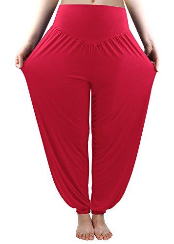 Modal Yoga Harem Pilates Pants Long Baggy Sports Workout Dancing Trousers, Medium (Fits 23.6-35.4 Inches Waist), Burgundy (Wear Gaucho Pants)