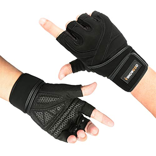 isnowood Weight Lifting Gloves - Padded Anti-Slip Silica Gel Grip, Gym Gloves for Powerlifting, Training, Exercise (Men & Women) with Free Portable bag (M(Fits 7.5-8 Inches))
