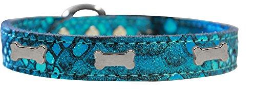 (Mirage Pet Products 83-96 BL26 Silver Bone Widget Dragon Skin Genuine Leather Dog Collar, Size 26, Blue )