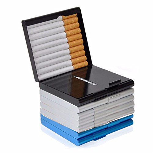 Gooday Alloy 20 Cigarettes Box Storage Case Box Tobacco Cigar Container Holder (Black)