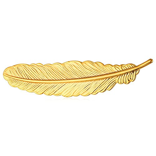 U7 Lady & Gentlemen Suit Brooches 18K Stamp Gold Tone Feather Leaf Brooch Pin(Gold) - Gold Leaf Pin