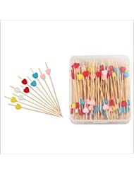 "150 Counts Party Decorations Cocktail Picks Bamboo Appetizer Toothpicks Multicolor Love Heart For Wedding Birthday Valentine's Day Drinks Fruits Food Décor 4.7"" Packed in Clear Storage Box -MSL120"