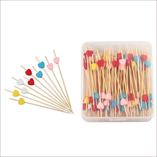 150 Counts Cocktail Picks Bamboo Appetizer Toothpicks Multicolor Love Heart For Wedding Birthday Valentine's Day Canape Sticks Party Drinks Fruits Food Decorations 4.7 in Clear Storage Box -MSL120