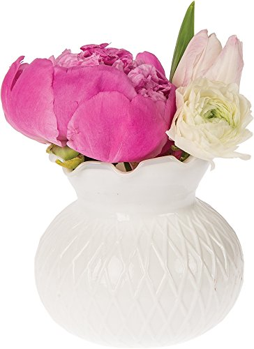 - Cultural Intrigue Luna Bazaar Vintage Milk Glass Vase (4-Inch, Daisy Short Ruffled Design, White) - Decorative Flower Vase - for Home Decor, Party Decorations, and Wedding Centerpieces