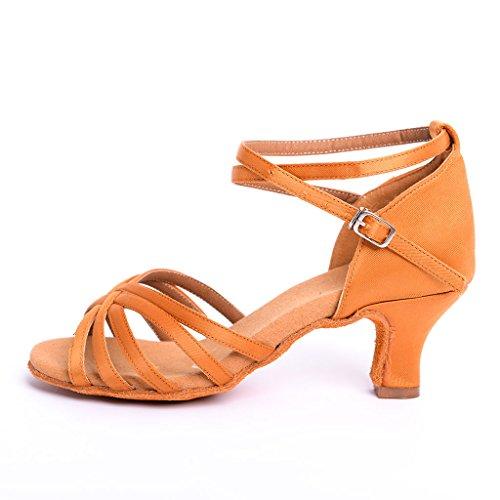 DoGeek Latin Dance Shoes Square Heels Shoes 6cm Latin Shoes Women Girls for Latin/Modern/Samba/Chacha Dance/Sasa Dance Brown 9kKihx2T6