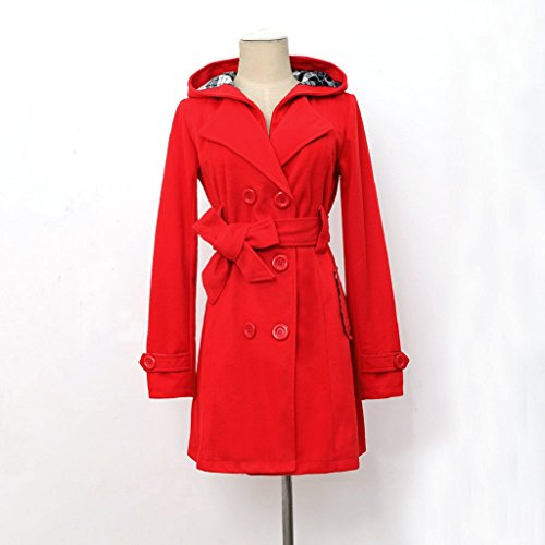 Ularma Abrigos de la mujer, Con capucha larga sección doble Breasted la chaqueta abrigo Rojo