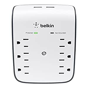 Belkin SurgePlus 6-Outlet Wall Mount Surge Protector with Dual USB Ports (2.1 AMP / 10 Watt), BSV602tt