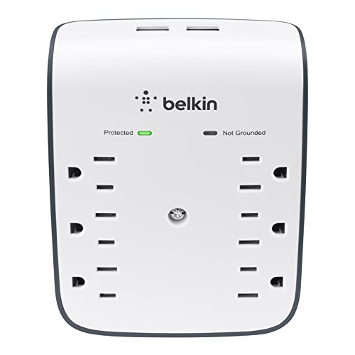 Belkin Dual Port - Belkin 6-Outlet USB Surge Protector w/Wall Mount - Ideal for Mobile Devices, Personal Electronics, Small Appliances and More (900 Joules)