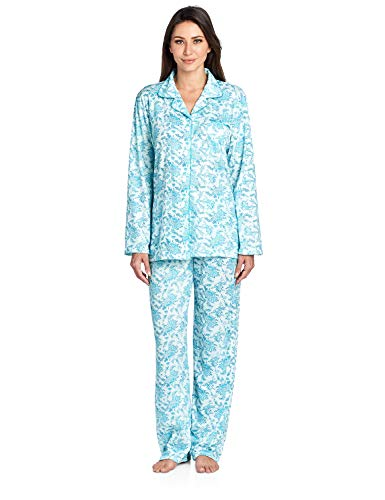 (Casual Nights Women's Long Sleeve Floral Pajama Set - Green - Small)
