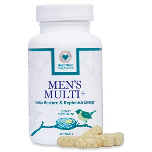 Best Nest Men's Multi+ | Methylfolate, Methylcobalamin (B12), Multivitamins, Probiotics, Made with 100% Natural Whole Food Organic Blend, Once Daily Multivitamin Supplement, 30 Caplets