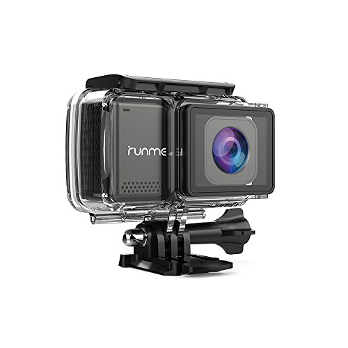 "RUNME R3 2.45"" Touchscreen 4K 16MP Wi-Fi Action Camera, Sony Image Sensor, 30M Water Resistant Camcorder with 170° Wide-angle Lens, Sports Cam with Accessories Kit & 2 Rechargeable Batteries (Grey) by Runme"