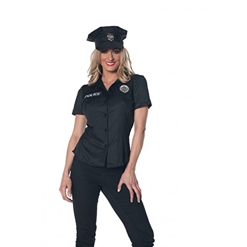 Ladies Police Officer Costume (Underwraps Women's Police Fitted Shirt, Black, Small)