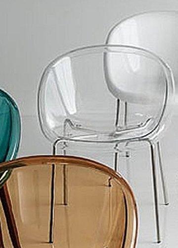 Outlet Calligaris Sedie.Outlet Calligaris 2 Sedie Bloom Cs 1390 Struttura Metallo Cromato Scocca Policarbonato Trasparente Bianco Ottico Cucina Sala Bar Caffetteria
