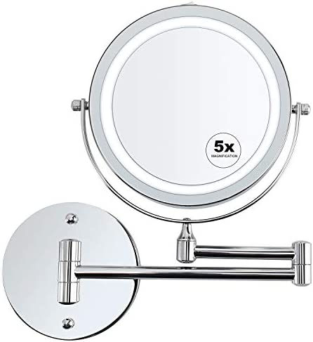 alvorog Wall Mounted Makeup Mirror LED Lighted 5X Magnifying Cosmetic Mirror 360 Swivel Extendable Two Sided Vanity Mirror for Bathroom, Powered by 4 x AAA Batteries Not Included