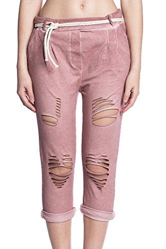 Abbino 5533 3/4 Pantalones Used Look para Mujeres - Hecho en ITALIA - 7 Colores - Entretiempo Primavera Verano Otoño Largos Deporte Casual Chico Fashion Elegantes Rebajas Atractivo Cordón Algodón Rosa