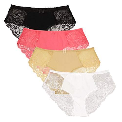 Women's Lace Soft Sexy Cotton Plus Size Bikini Underwear Panties Set(CBW0204-AC_3XL) -