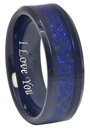 (CROWNAL 6mm 8mm Blue/Green Carbon Fiber Black Celtic Dragon Tungsten Carbide Wedding Band Ring Engraved I Love You (8mm,10.5))