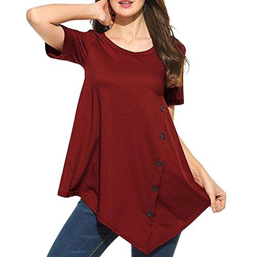 Button Blouse Women's Casual O-Neck Short Sleeve Shirt Top