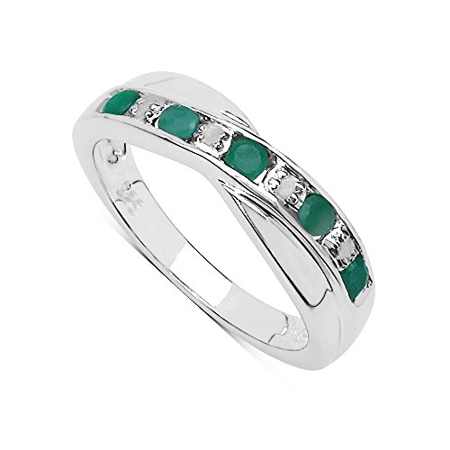 The Emerald Ring Collection: Beautiful Channel Set Emerald & Diamond...