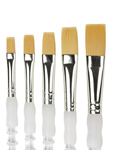 Brush Soft Royal Grip (Royal Brush SAX2 Soft Grip Flat Golden Taklon Fiber Long Handle Paint Brush Set, Assorted Size (Pack of 5))