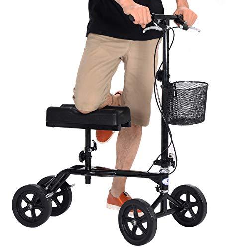 Dirigible giantex plegable patinete - Andador de rodilla de carro de disco de freno de vuelta cesta negro: Amazon.es: Salud y cuidado personal