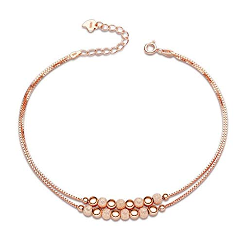 CTRCHUJIAN Summer 925 Sterling Silver Beads Ankle Bracelet Double Chain Anklet Female Fashion Jewelry Girl Best