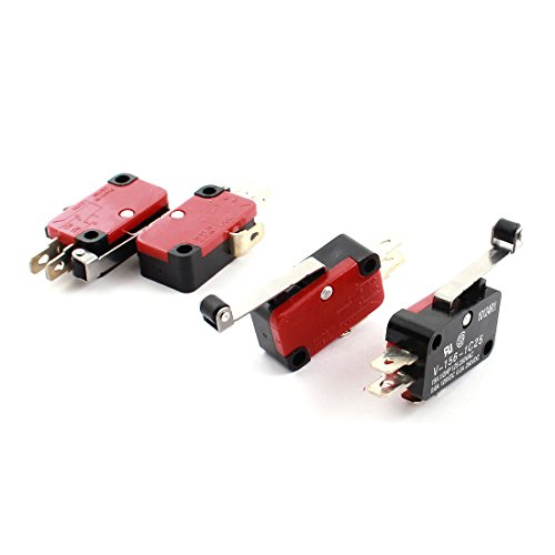 Uxcell a14092400ux0149 Roller Hinge Lever No NC Actuator Micro Limit Switch DC 125V 0.6 Amp 4 Piece, 0.63