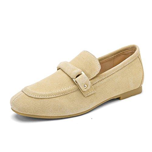 HWF Zapatos para mujer Zapatos de mujer de estilo británico de primavera boca baja Zapatos planos de un solo piso Un pedal zapatos de cuero perezosos femenino ( Color : Beige , Tamaño : 39 ) Beige