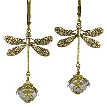 NoMonet Hand Painted Victorian Earrings - Dragonfly Daze in Gold and Lavender mQa3mx