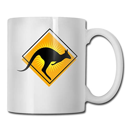 Kangaroo Sign Road (Coffee Mug 11oz Funny Cup Milk Juice Or Tea Cup Road Sign Kangaroo Birthday Gift)