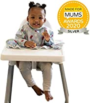New Tidy Tot Cover & Catch Waterproof Bib attaches to highchair NO More Gaps ! Long Sleeve Coverall Baby weaning bib for BLW