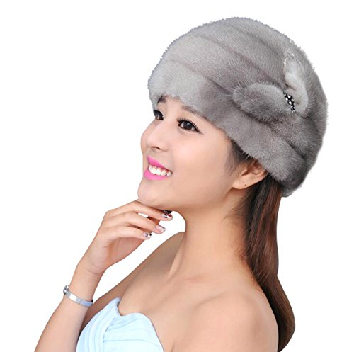 Easting Women's Real Mink Fur Winter Warmer Flexible Berets Hat (Gray)