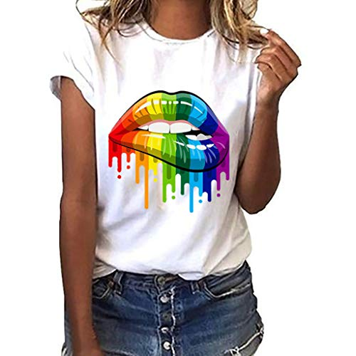 Funic Women Summer Fashion be Kind Letter Print Short Sleeve T-Shirt Tops Blouse Tee (S, White B)